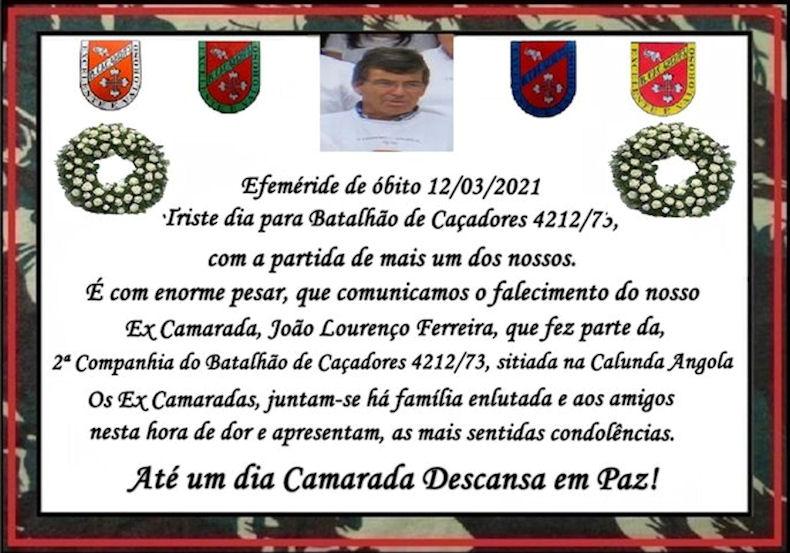 Faleceu o veterano João Lourenço Ferreira, da 2ª/BCac4212/73 - 12Mar2021 Jozeo_18