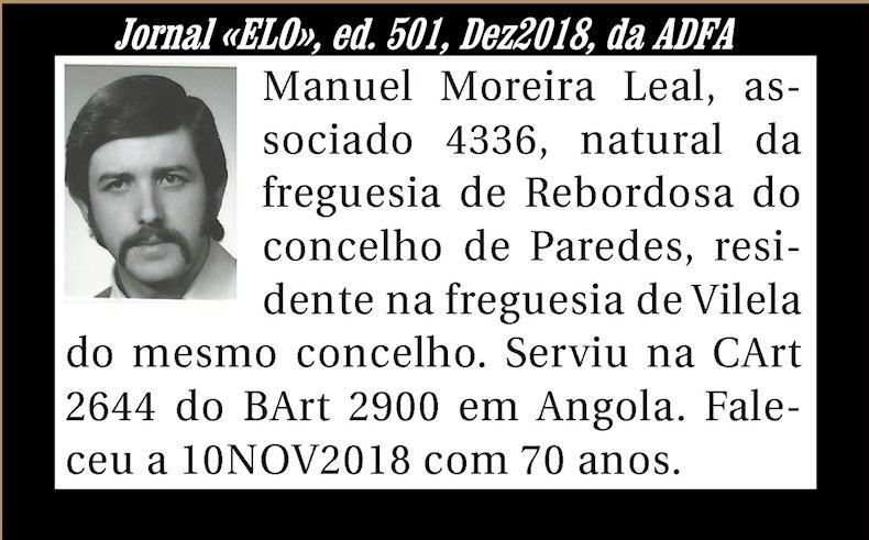 Notas de óbito publicadas no Jornal «ELO» de Dezembro de 2018 da ADFA Manuel14