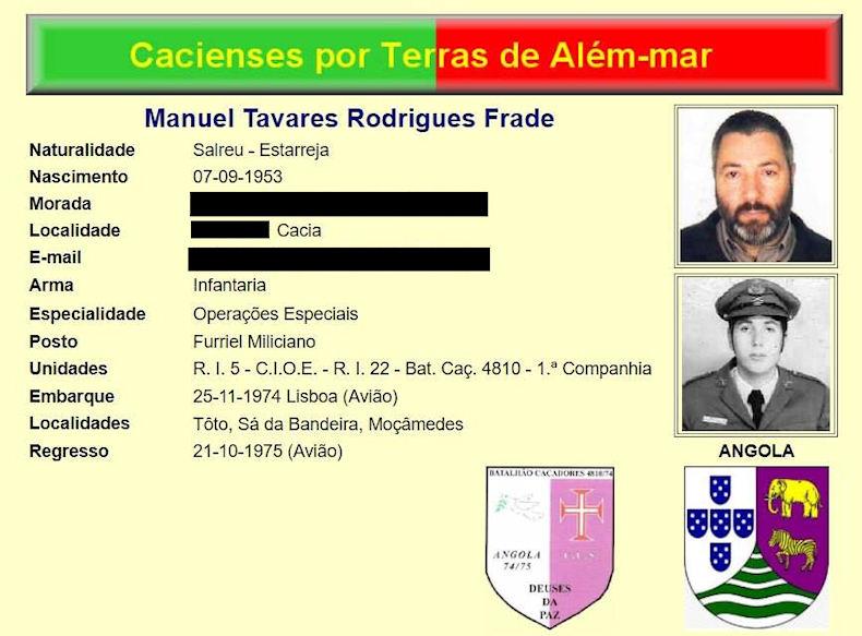 Faleceu o veterano Manuel Tavares Rodrigues Frade, Furriel Mil.º, da 1ªBCac4810/74 - 09Mai2019 Manuel19