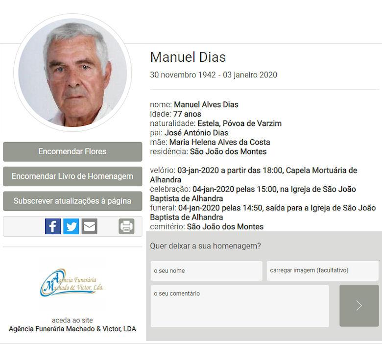 Faleceu o veterano Manuel Alves Dias, Alferes Mil.º de Infantaria, da CCac1458/BCac1866 - 03Jan2020 Manuel29