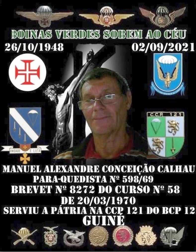 Faleceu o veterano Manuel Alexandre Conceição Calhau, Soldado PQ, da CCP121/BCP12 - 02Set2021 Manuel50