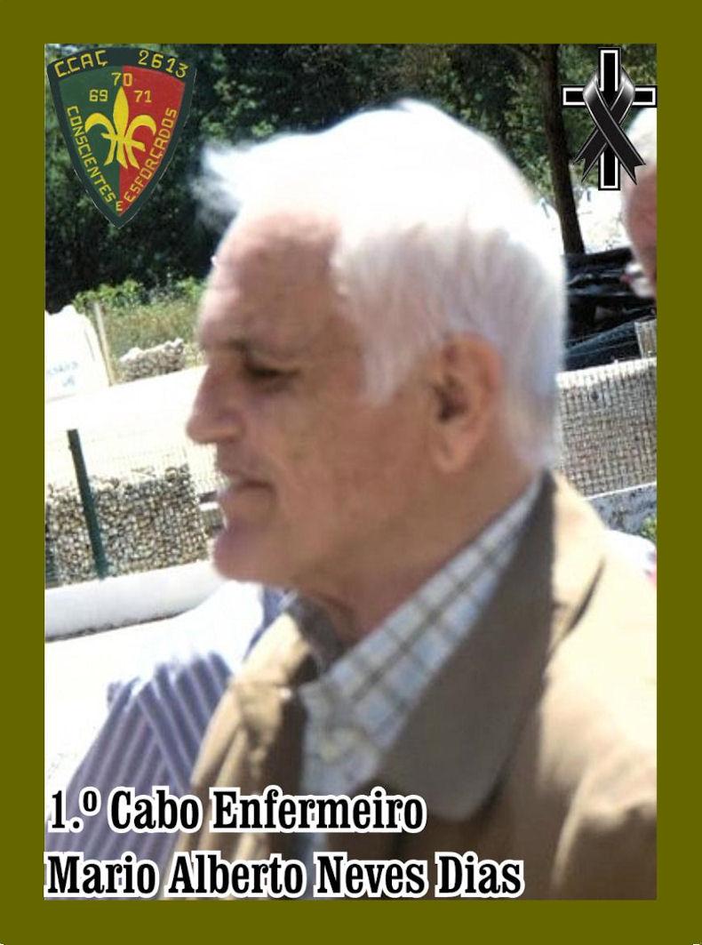 Faleceu o veterano Mário Alberto Neves Dias, 1.º Cabo Enfermeiro, da CCac26138/BCac2891 - 22Jan2021 Mzerio15