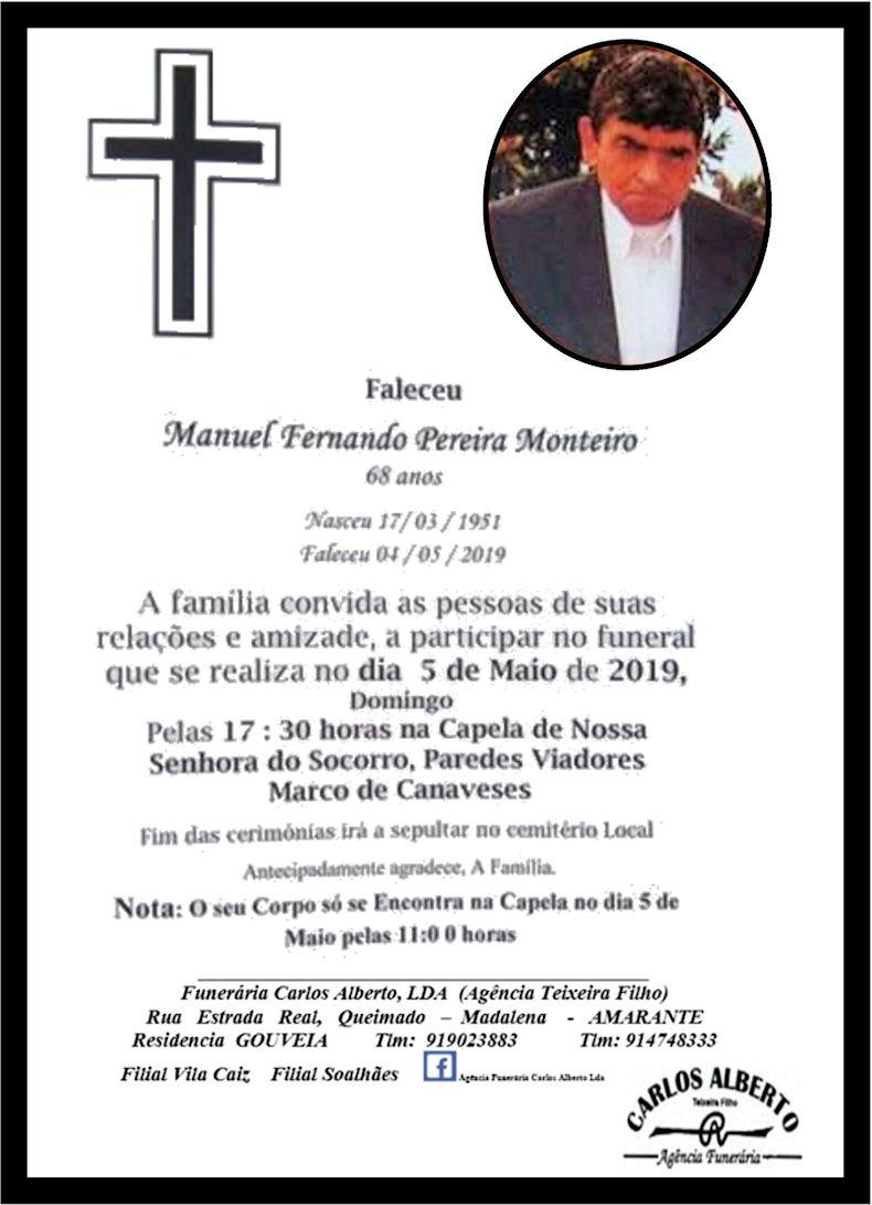 Faleceu o veterano Manuel Fernando Pereira Monteiro, da 2ª/BArt6522/72 - GTIG - 04Mai2019 Notade13