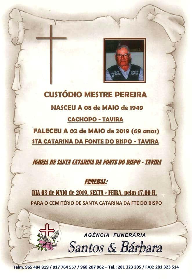 Faleceu o veterano Custódio Mestre Pereira, da CArt2783/RMA - 02Mai2019 Notade14