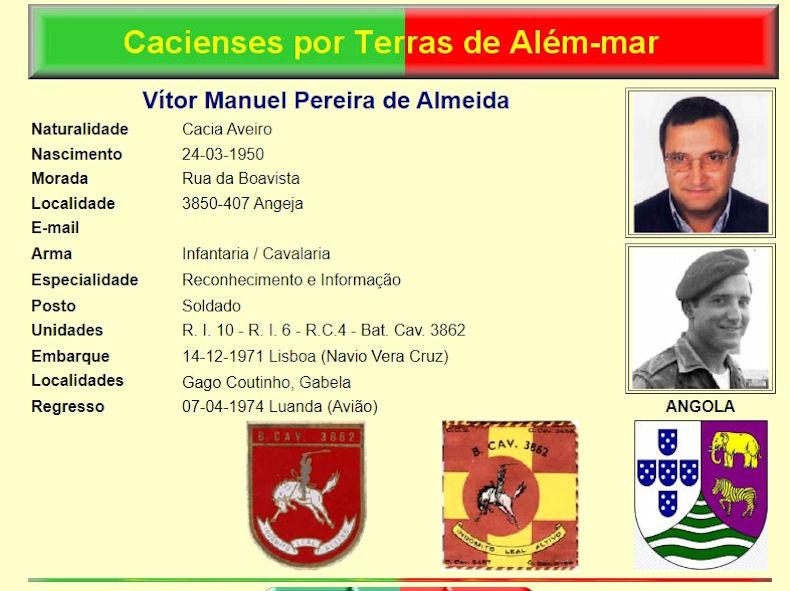 Faleceu o veterano Vítor Manuel Pereira de Almeida, Soldado de Cavalaria, CCS/BCav3862 - 27Jul2020 Vzytor11