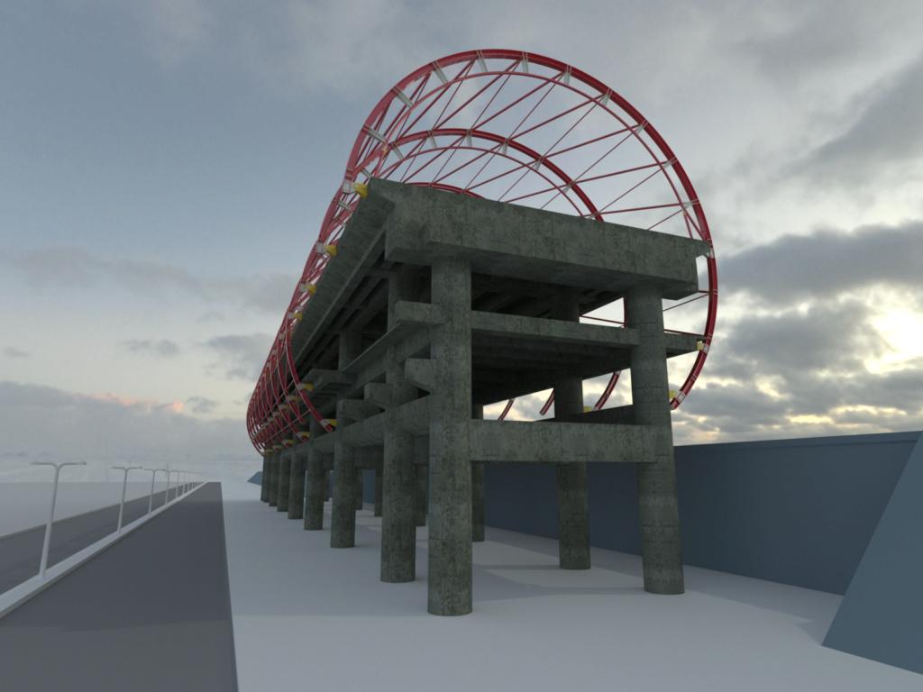 [作品]AutoCAD 3D 捷運站體材質渲染 19053010