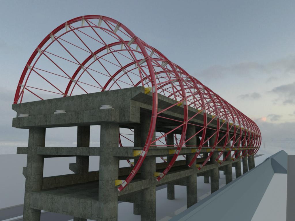 [作品]AutoCAD 3D 捷運站體材質渲染 19053013