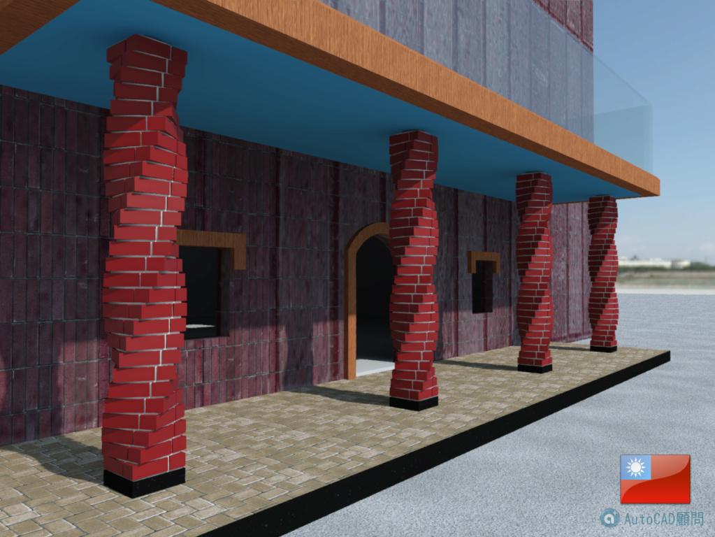 AutoCAD 3D 花式砌磚建模練習 2019_106