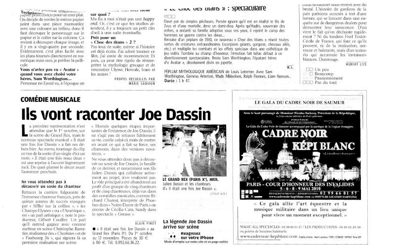 article sur le spectacle il était une fois joe dassin le parisien 7 avril 2010 Nouvel10