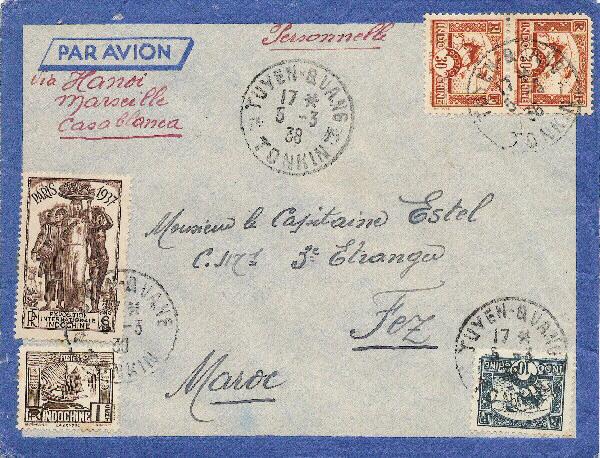 Croix ou lignes parallèles,au tampon, sur étiquettes PAR AVION Avion10