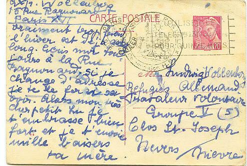 1940 Lettre d'Alsace à un prisonnier dans l'Yonne Cte110