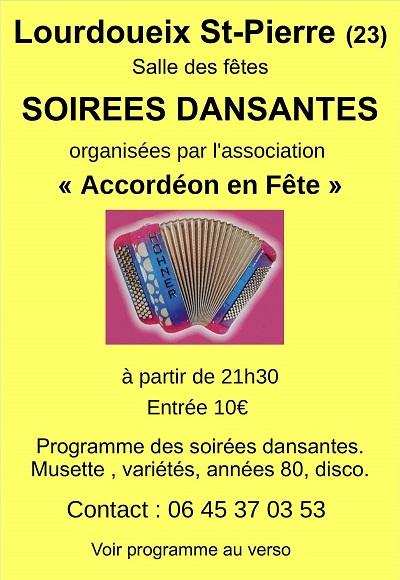 c14 - SAM 14 mars - LOURDOUEIX ST-PIERRE (23) - Soirée dansante avec A et J Arnaud  001-2310