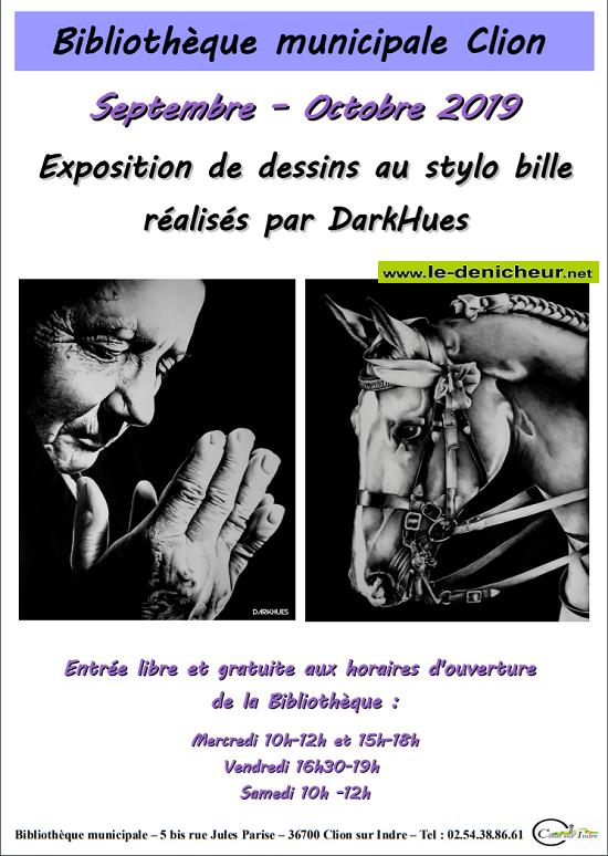 v30 - Jusqu'au 30 octobre - CLION /Indre - Exposition de dessins au stylo billes _* 0011016