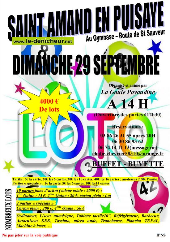 u29 - DIM 29 septembre - ST-AMAND-en-PUISAYE - loto de la Gaule Payaudine */ 0011070