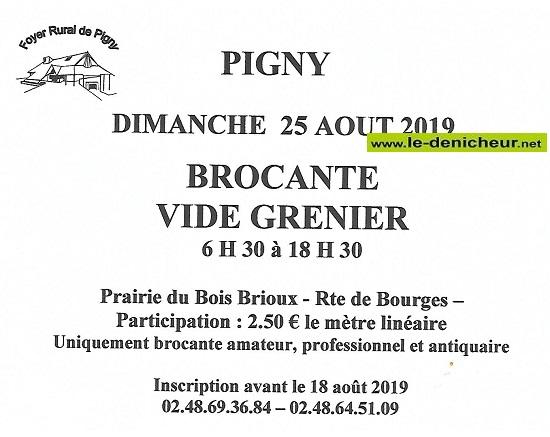 t25 - DIM 25 août - PIGNY - Brocante du Foyer rural */ 0011115