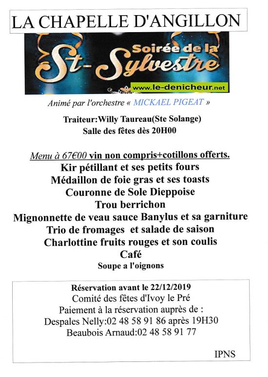 X31 - MAR 31 décembre 2019 - LA CHAPELLE D'ANGILLON - Réveillon de la St-Sylcestre .*/ 0011127