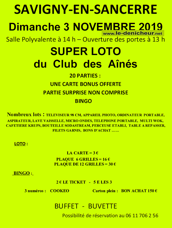 w03 - DIM 03 novembre - SAVIGNY en Sancerre - Loto du Club des Aînés .*/ 0011133