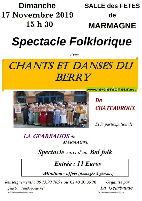 w17 - DIM 17 novembre - MARMAGNE - Spectacle folklorique .*/ 0011136