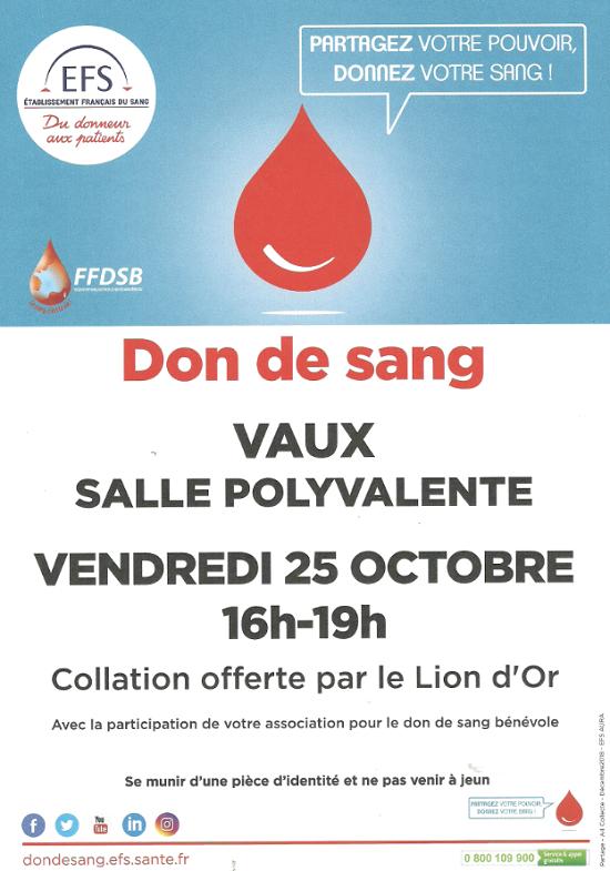 v25 - VEN 25 octobre - VAUX - Collecte de sang */ 0011151