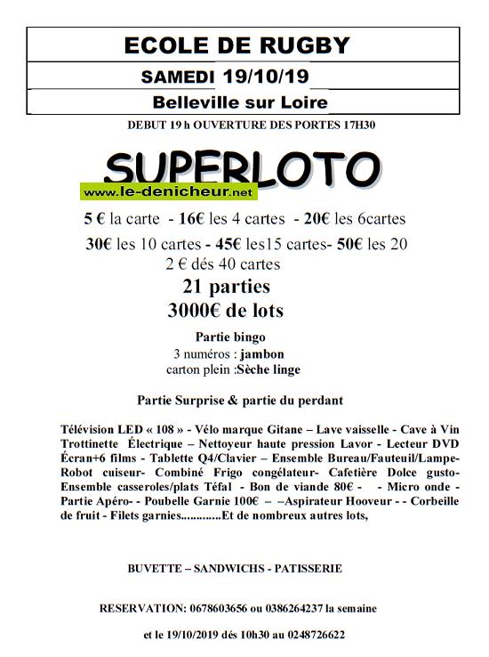 v19 - SAM 19 octobre - BELLEVILLE /Loire - loto de l'école de Rugby .*/ 0011154