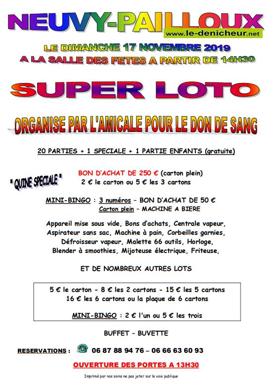 w17 - DIM 17 novembre - NEUVY-PAILLOUX - Loto des donneurs de sang .*/ 0011157