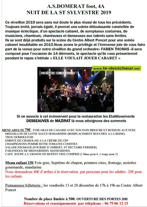 x31 - MAR 31 décembre - 2019 - DOMERAT - Réverillon de la St-Sylvestre */ 0011180