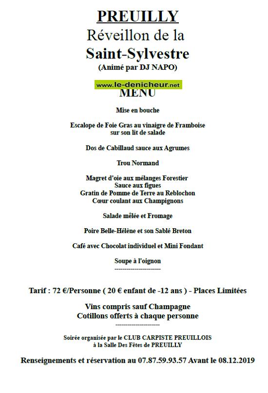x31 - MAR 31 décembre 2019 - PREUILLY - Réveillon de la St-Sylvestre .*/ 0011187