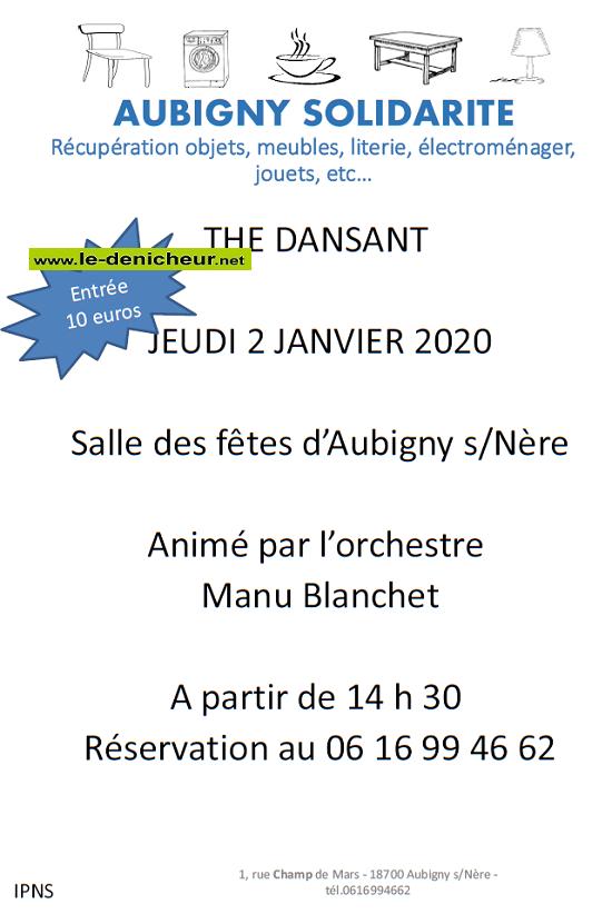 za02 - JEU 02 janvier - AUBIGNY /Nère - Thé dansant avecManu Blanchet .*/ 0011200