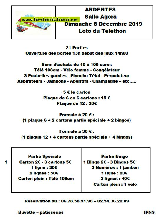 x08 - DIM 08 décembre - ARDENTES - Loto du Téléthon .*/ 0011201