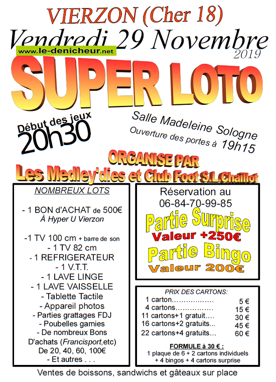 w29 - VEN 29 novembre - VIERZON - Loto du Foot SL Chaillot .*/ 0011245