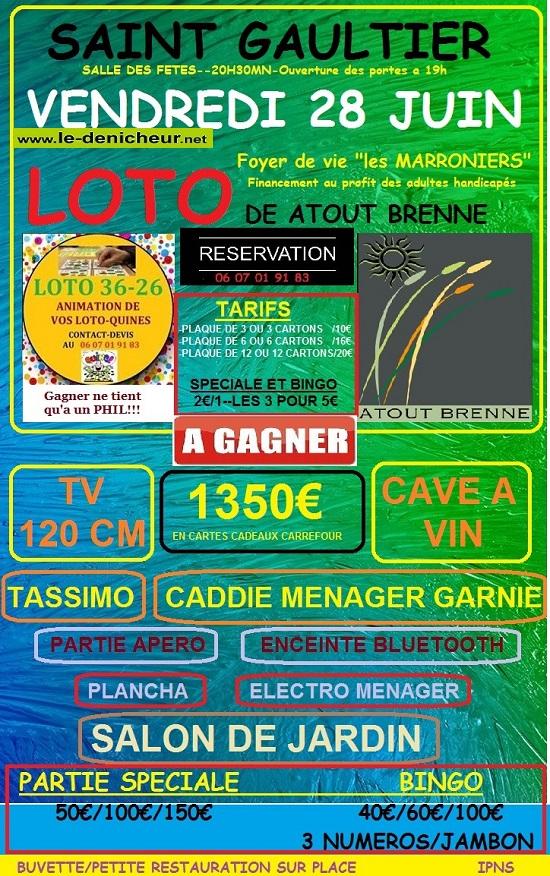 r28 - VEN 28 juin - ST-GAULTIER - Loto de Atout Brenne */ 0011247