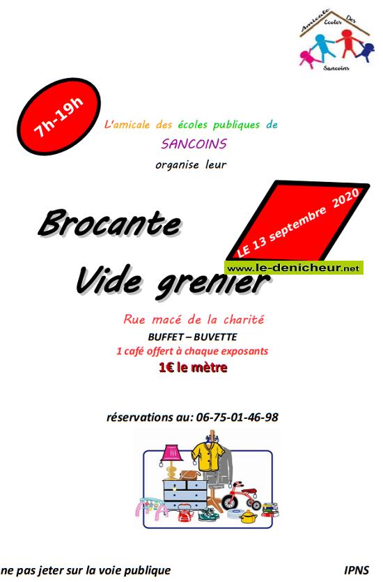 i13 - DIM 13 septembre - SANCOINS - Brocante de l'Amicale des écoles _* 0011269