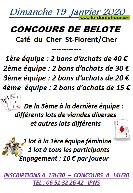 za19 - DIM 19 janvier - ST-FLORENT /Cher- Concours de belote .*/ 0011359