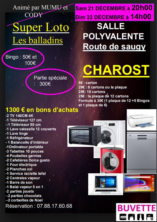 x21 - SAM 21 décembre - CHAROST - Loto des Balladins */ 0011376