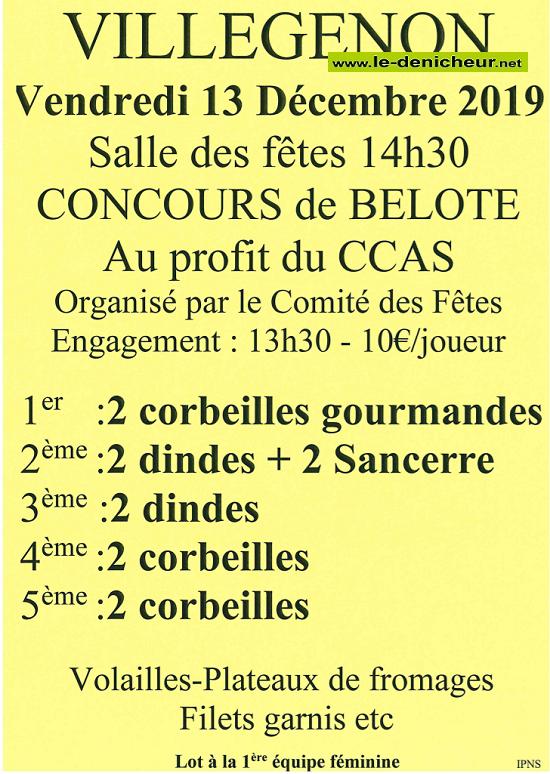 x13 - VEN 13 décembre - VILLEGENON - Concours de belote */ 0011402