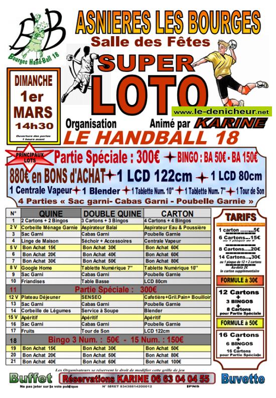 c01 - DIM 01 mars - ASNIERES Les Bourges - Loto du Bourges Hand 18 */ 0011512