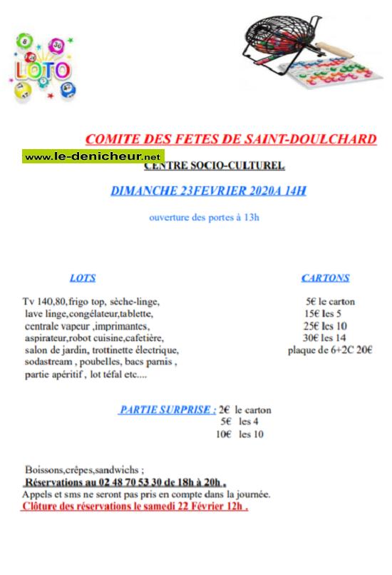 b23 - DIM 23 février - ST-DOULCHARD - Loto du comité des fêtes .*/ 0011518