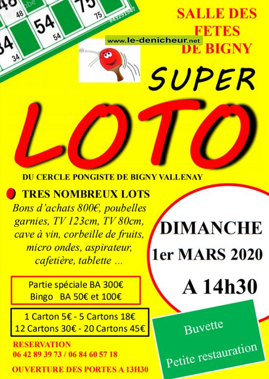c01 - DIM 01 mars - BIGNY VALLENAY - Loto du Cercle Pongiste .*/ 0011534