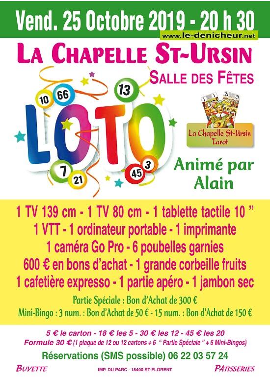 v25 - VEN 25 octobre - LA CHAPELLE ST-URSIN - Loto du Tarot */ 0011544
