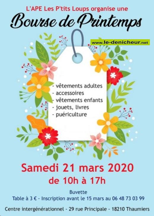 c21 - SAM 21 mars - THAUMIERS - Bourse aux vêtements, jouets, puériculture * 0011558