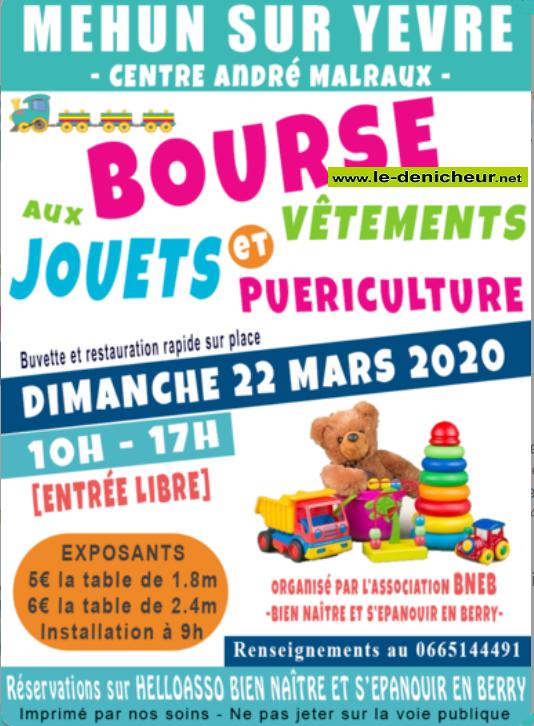 c22 - DIM 22 mars - MEHUN /Yèvre - Boures aux jouets, vêtements et puériculture * 0011559