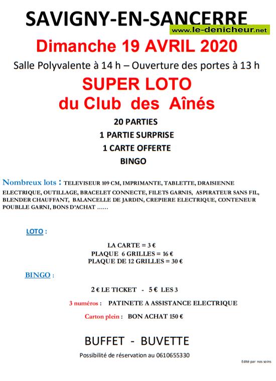 d19 - DIM 19 avril - SAVIGNY EN SANCERRE - Loto du Club des Aînés annulé.*/ 0011598