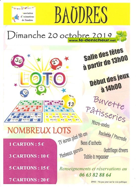 v20 - DIM 20 octobre - BAUDRES - Loto de l'Association d'Animations .*/ 0011643
