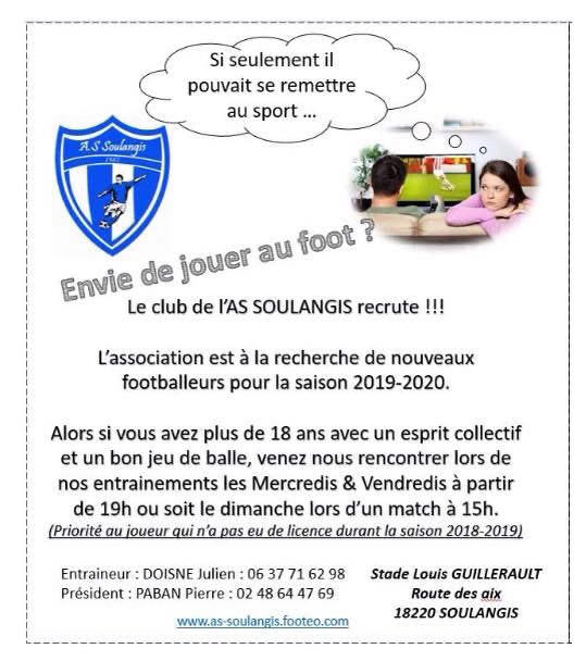 SEPTEMBRE 2019 - SOULANGIS - Envie de jouer au Foot ? L'ASS recrute . 0011650