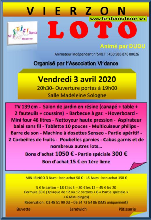 d03 - VEN 03 avril - VIERZON - Loto de Vi'dance annulé */ 0011657