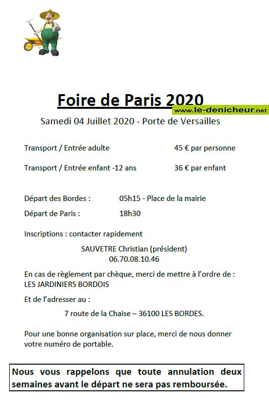 g04 - SAM 04 juillet - LES BORDES - Journée à la Foire de Paris annulé */ 0011669