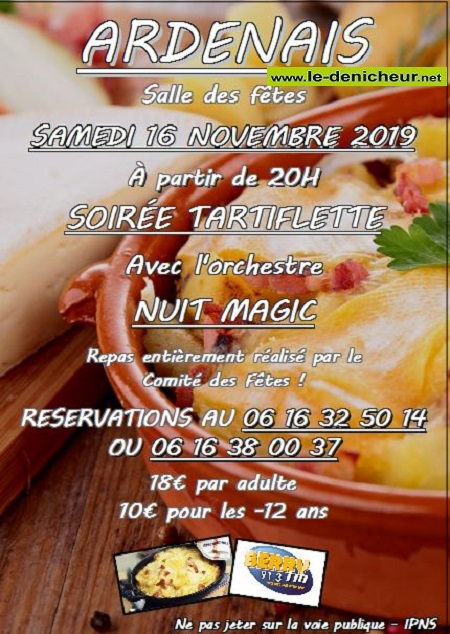 w16 - SAM 16 novembre - ARDENAIS - Dîner dansant avec Nuit Magic .*/ 0011677