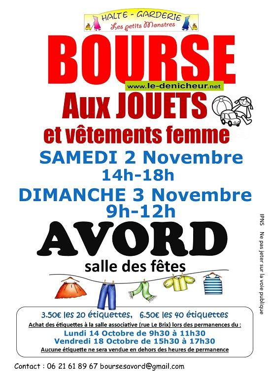 w03 - DIM 03 novembre - AVORD - Bourse aux jouets et vêtements femmes _* 0011679