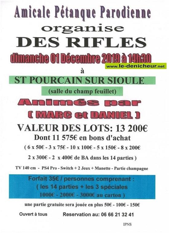 x01 - DIM 01 décembre - ST-POURCAIN /Sioule - Rifles de la Pétanque Parodienne */ 0011721