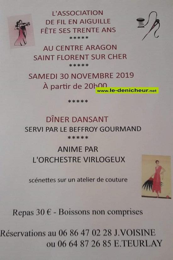 w30 - SAM 30 novembre - ST-FLORENT /Cher - Dîner dansant avec l'orchestre Virlogeux*/ 0011727